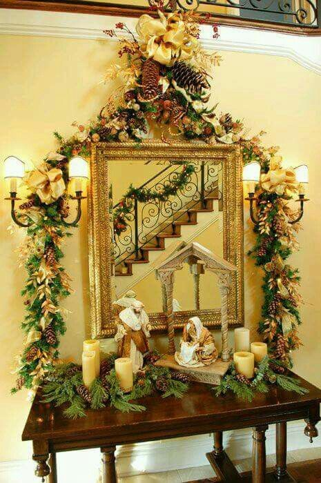 #HomebaseMumsnetXmas Gorgeous Christmas Nativity Scene. You could add it to your hall all lit up as a centerpiece.