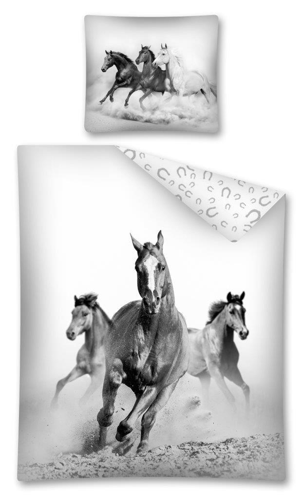Divoké kone detské posteľné obliečky na posteľ bielo sivej farby