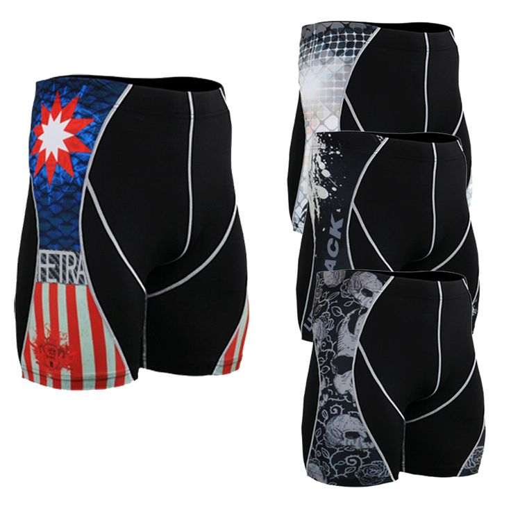2016 Fashion Men Pants Multi-functional for Male Bodybuilding Base Layers Compression Tight 3D Prints Short Trousers