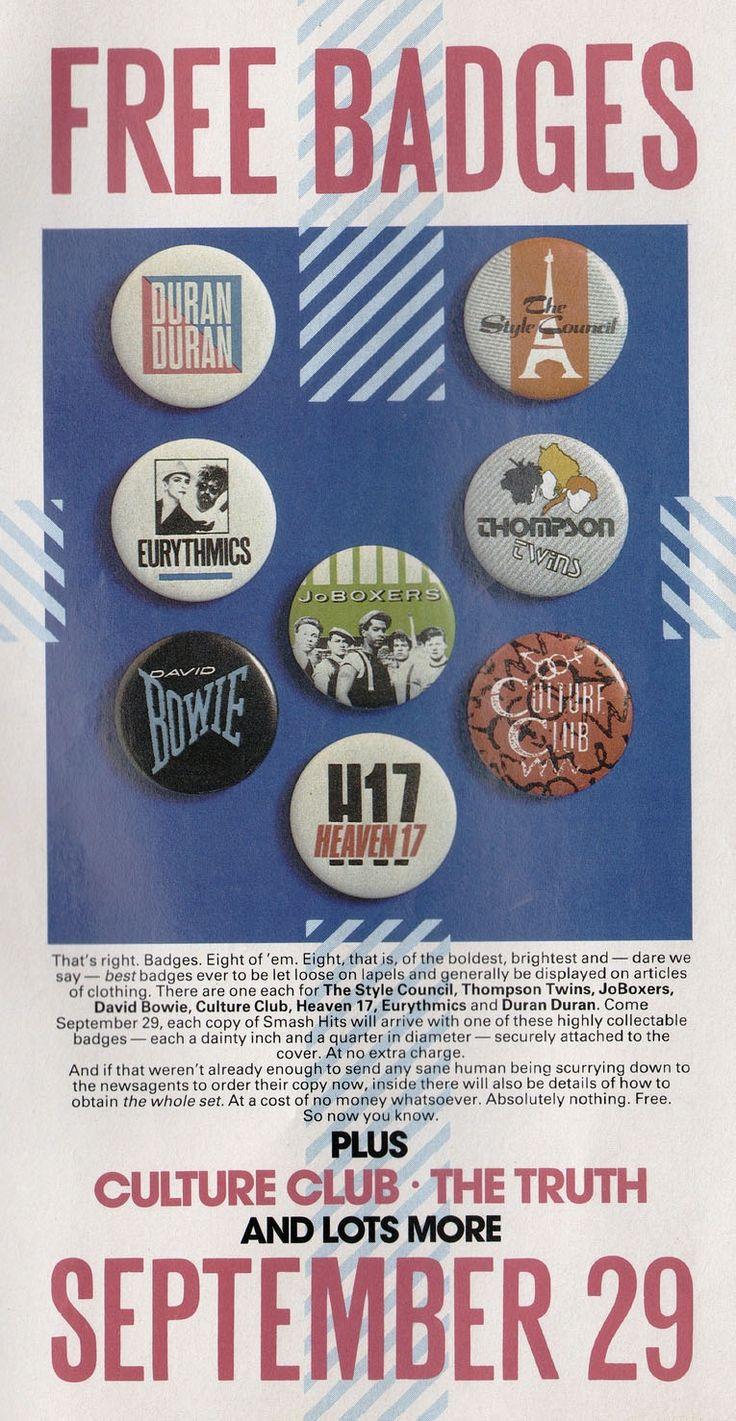 Smash Hits, September 1983 Free badges, My childhood