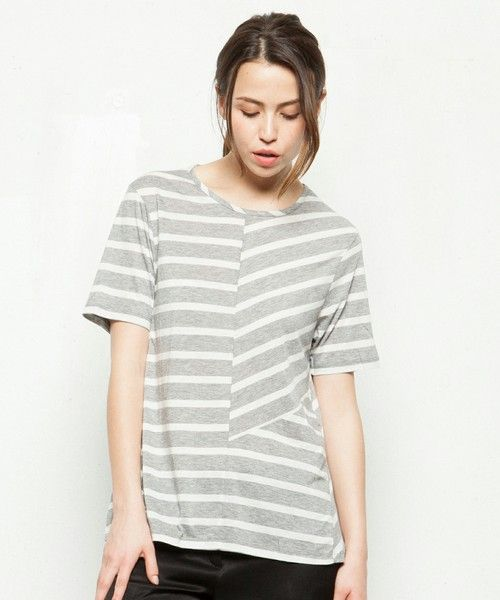 JOSEPH WOMEN(ジョセフウィメン)のPATCHWORK STRIPES RD NK SS Tシャツ(Tシャツ/カットソー)|ライトグレー系7