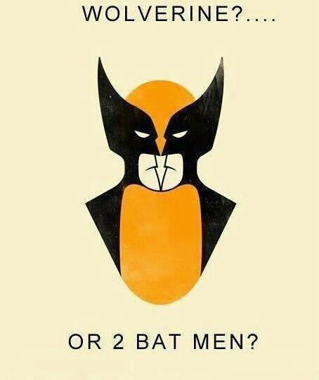 Wolverine...or 2 Bat Men?: Mind Blown, Stuff, Bat Men, Wolverines, Funny, Batman, Optical Illusion, Superhero