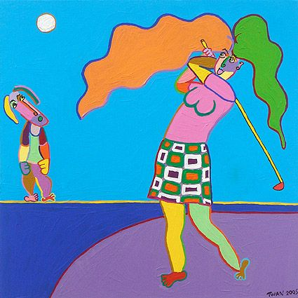 schilderij golf tee par hole bogey kunst club Schilderij Over het water, vrouwelijke golfer slaat de bal over het water naar de volgende hole