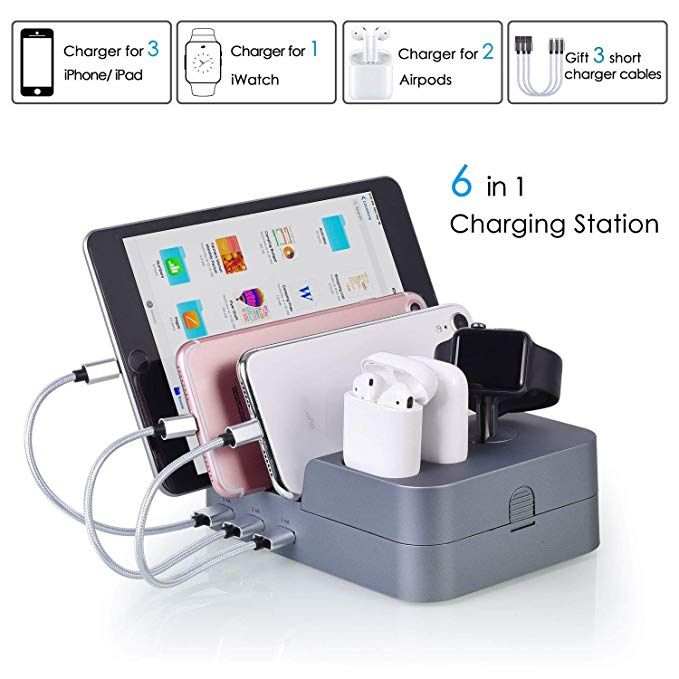 Charging Station For Multiple Devices 6 Ports Hub Smart Multi Usb Charger Docking Station Org Usb Charging Station Cell Phone Charging Station Desktop Charger