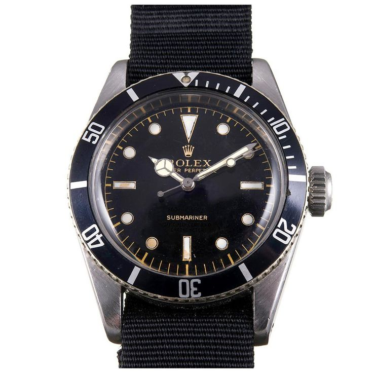 Rolex Stainless Steel Submariner 4 Line Ghost Dial Big Crown Ref 6538 | From a unique collection of vintage wrist watches at https://www.1stdibs.com/jewelry/watches/wrist-watches/