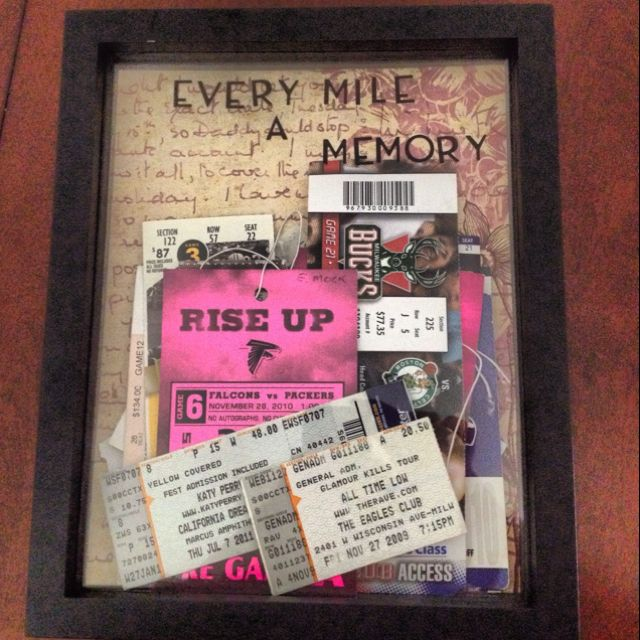 Shadow Box for Ticket Subs! Only 7$ at Michaels for shadow box, scrapbook paper and stickers!