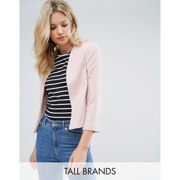 New Look Tall Crop Blazer (980 CZK) ❤ liked on Polyvore featuring outerwear, jackets, blazers, pink, jersey jacket, jersey blazer, pink jacket, cropped blazer jacket and blazers jersey