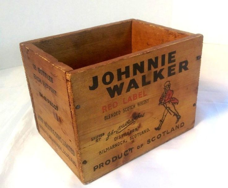 Wooden Shipping Crate JOHNNIE WALKER Red Label Scotch Whisky Scotland Small Box #JohnnieWalker