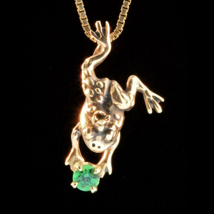 Gold Frog Charm Enchanted Frog Prince Pendant 14k Kiss the Frog Frog Jewelry Gold Frog Charm with Tsavorite Magic Frog Fairy Tale Jewelry by martymagic on Etsy https://www.etsy.com/listing/471526583/gold-frog-charm-enchanted-frog-prince
