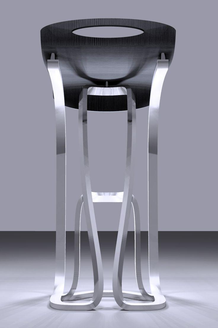 Sgabello da bar con struttura di base metallica cava a sezione rettangolare. Il groviglio di curve che regge la seduta si ispira all'ottovolante da cui il nome rollercoaster. La seduta è molto semplice ed ottenuta con multistrato di legno rivestito con laminato di rovere grigio, ma disponibile in diverse colorazioni ed essenze.