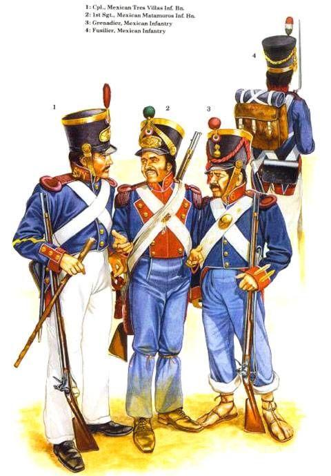 1. Cpl. Batallon Infanteria Mexicano Tres Villas. 2. Sargento 1º , Batallon Infanteria Mexicano Matamoros. 3. Granadero de infanteria Mexicano. 4. Fusilero de infanteria Mexicano.