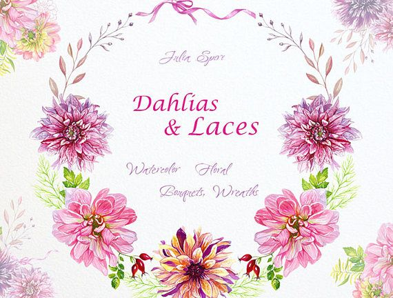 Watercolor Floral Bouquets and Wreaths Frames. Dahlias