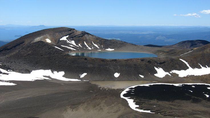 View of Blue Lake from high on the ridge to Tongariro.