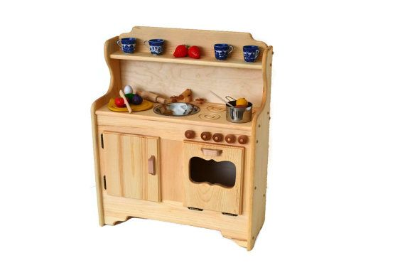 Wooden Play Kitchen Wooden Toy kitchen  by AToymakersDaughter