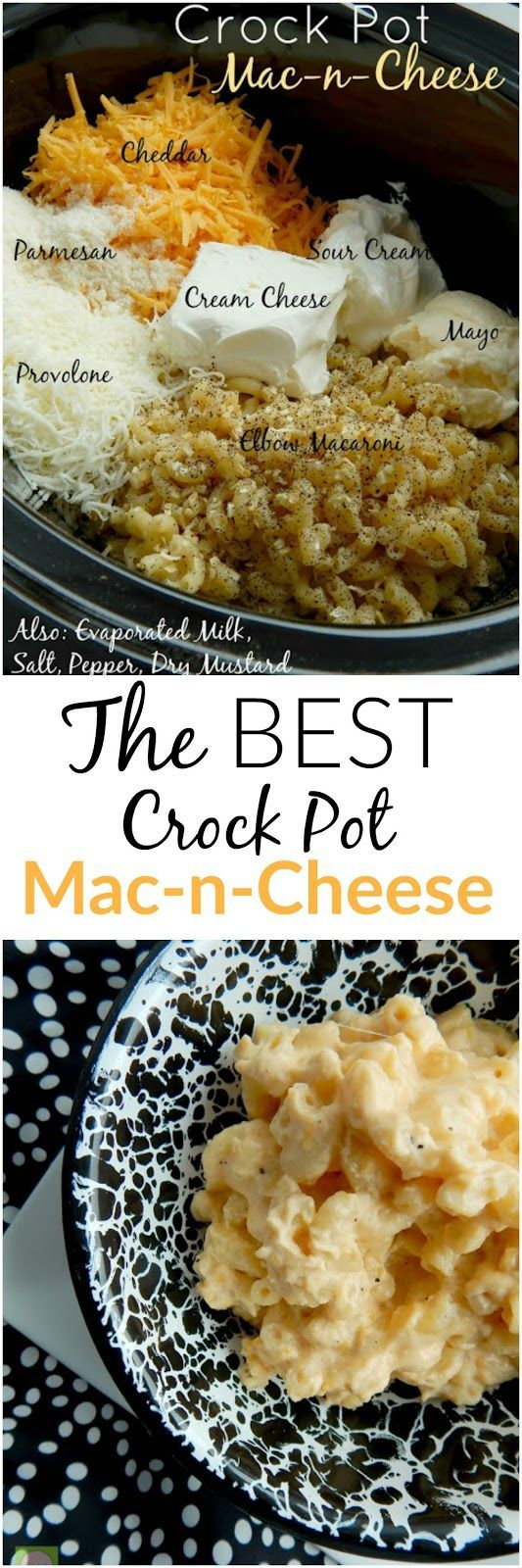 The BEST Crock Pot Mac-n-Cheese around!  Creamy, smooth, cheesy...a definite crowd pleaser.