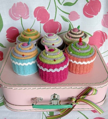Betz White Felted Cupcake Pin Cushions- she does these in an ornament style too!