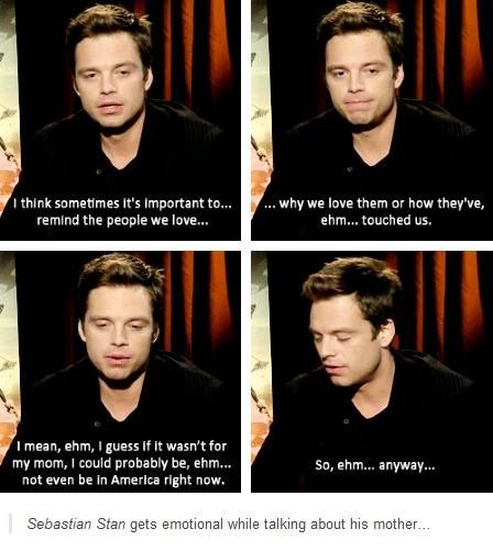 Sebastian Stan talking about his mother<---AWWW Sebastian is a mamma's boy