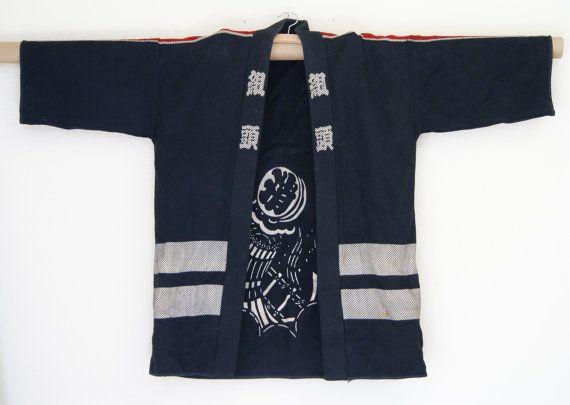 Vintage Japanese Men's kimono Haori Festival Hanten by SaintPinks