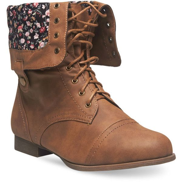 Floral Foldover Combat Boots - Wide Width (1,345 INR) ❤ liked on Polyvore featuring shoes, boots, brown, mid-calf boots, brown mid calf boots, brown combat boots, chunky heel lace up boots, army boots and combat booties