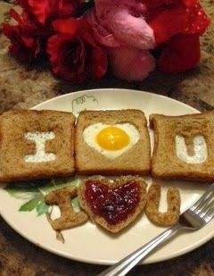 Love egg in the hole the heart one is cute for valentines. Doubt I'd go to the effort of the I and the U though.