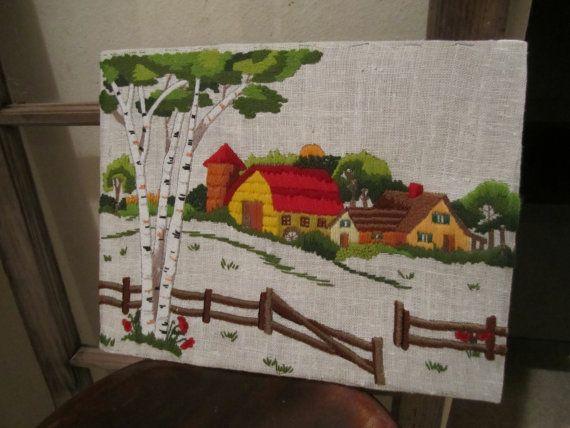 Granero escena para bordar bordado imagen por HappyKristenVintage