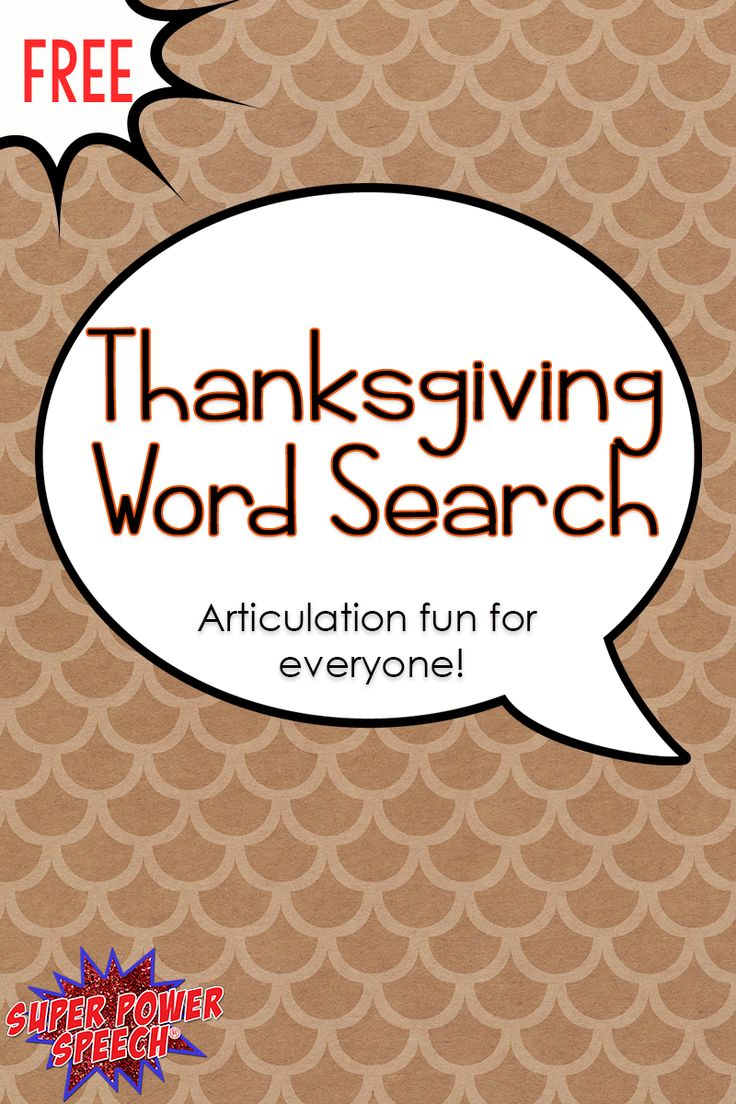 Free word search with Thanksgiving words to work on /r/, /s/ or just for fun!!