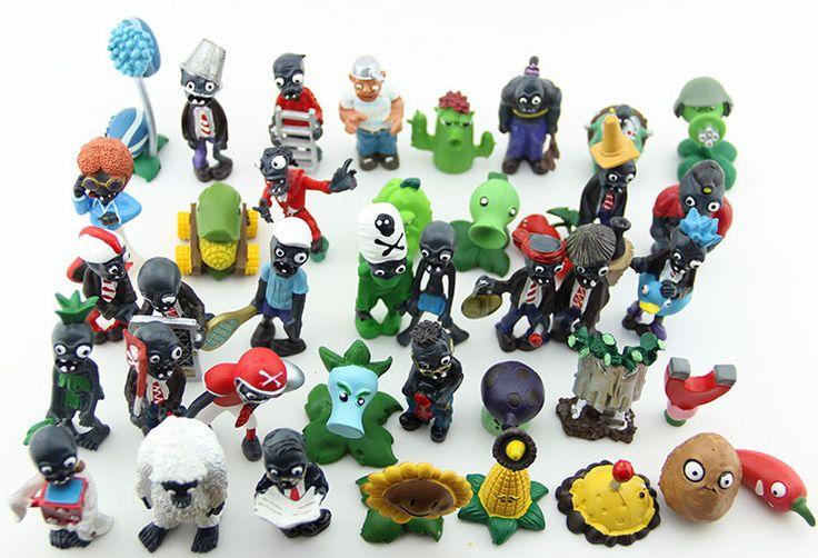 Plants vs Zombies PVC Action Figures 2.5-6.5cm PVZ 40pcs/set Collection Figures Toys Gifts plant + zombies