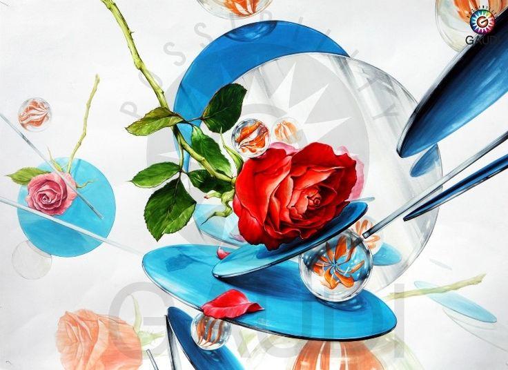 건국대유형 기초디자인 제안작 장미, 원형 아크릴거울, 구슬 [청주가우디미술학원,청주미술학원] : 네이버 블로그
