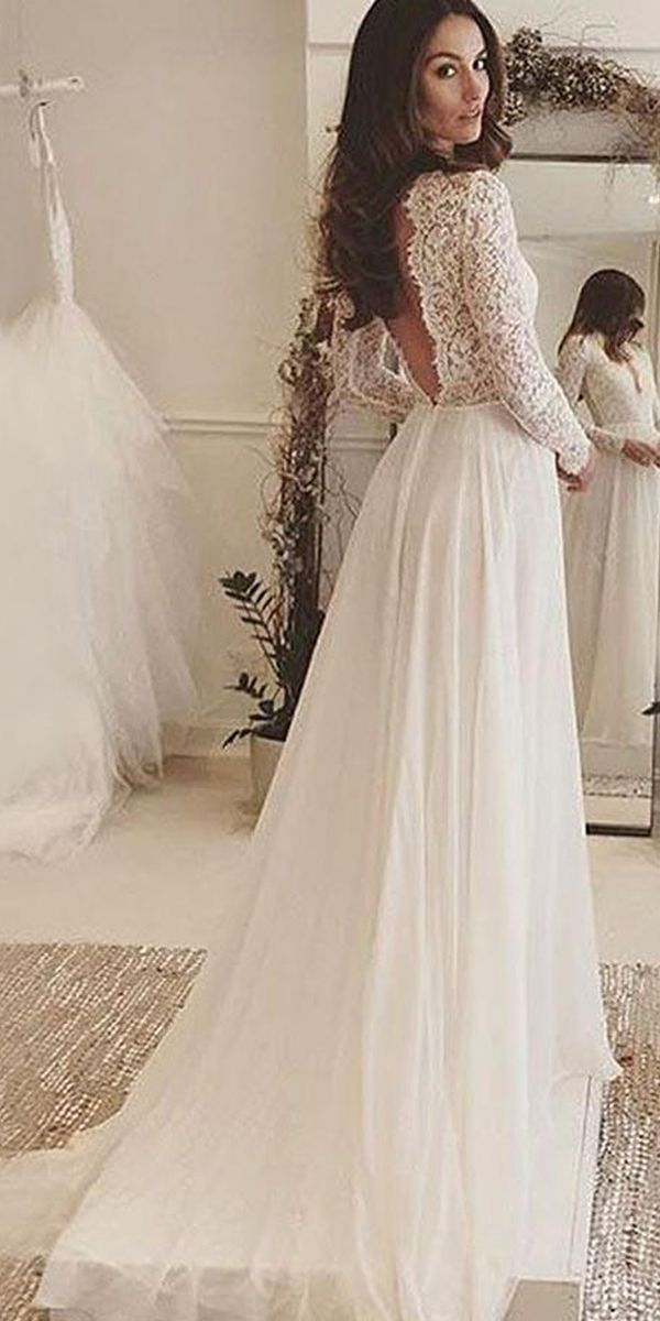 V Neck Long Sleeves Backless Ivory Chiffon Wedding Dress With Lace