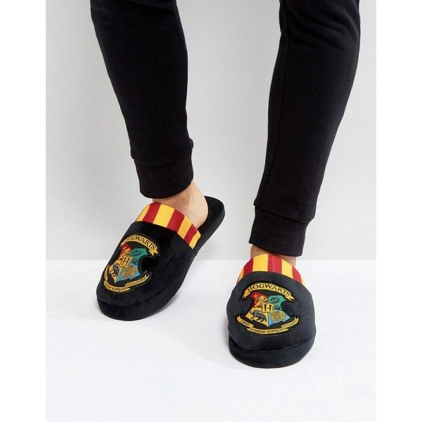 Fizz Harry Potter Hogwarts Logo Slippers ($27) ❤ liked on Polyvore featuring shoes, slippers, black, mens black slippers, mens black shoes, mens backless slippers and mens backless shoes
