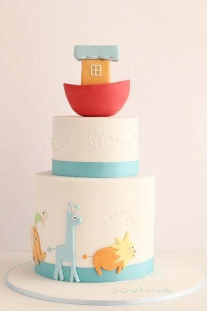 noah's ark christening cake (would also be good for a baby shower)