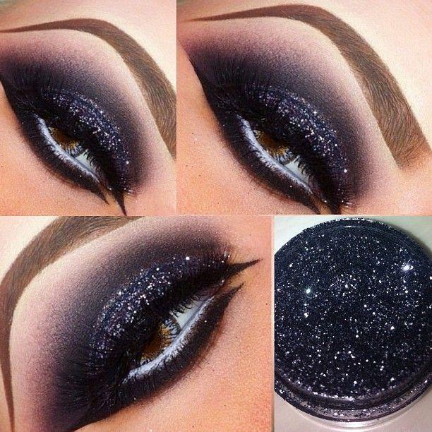 Tendance maquillage yeux 2017 2018 glittery smokey eye - Maquillage tendance 2017 ...