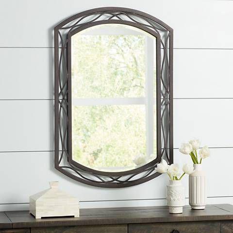 "Woven Bronze Metal 24 x 35 1/2"" High Wall Mirror --144"