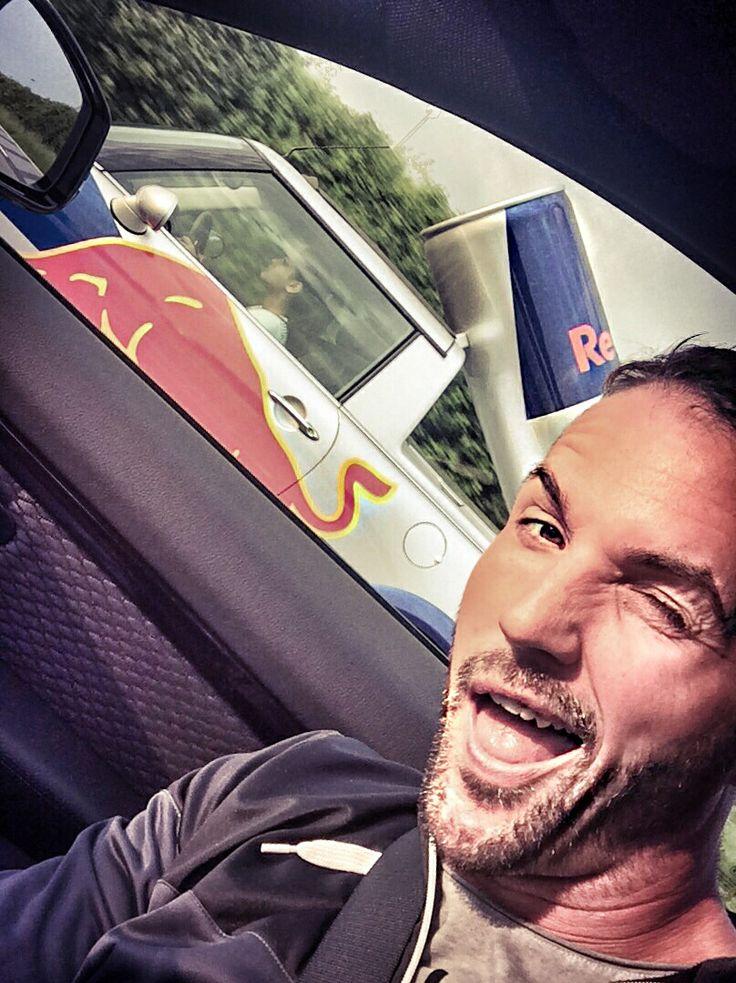 REDBULL selfie with REDBULL promotion car