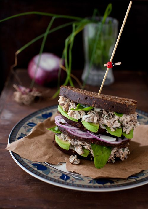Basil chicken salad with mushrooms, walnuts and avocado on a whole grain bread