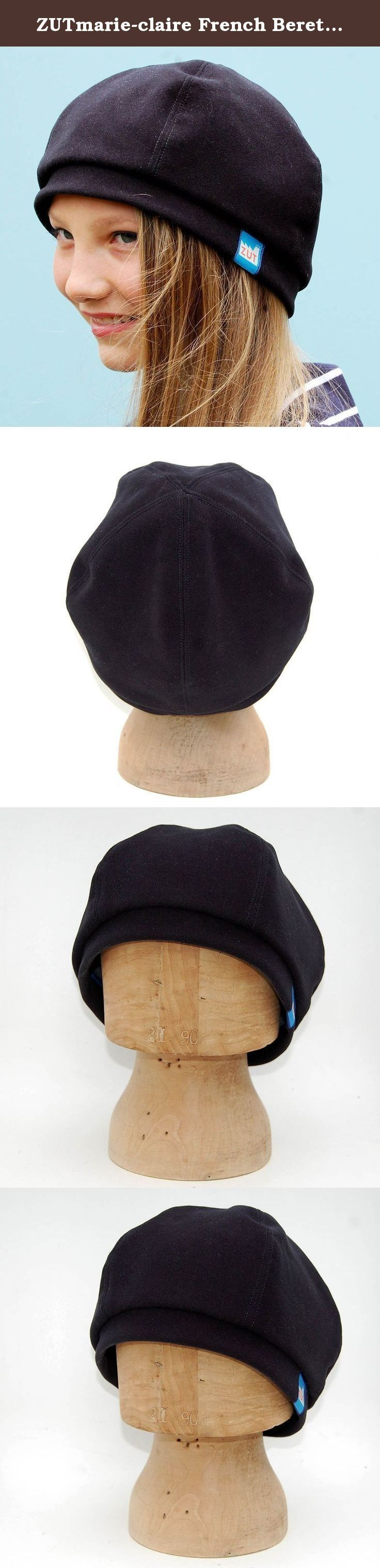 ZUTmarie-claire French Beret in Warm Italian Gaberdine. Black French beret with structured 5 piece crown in luxurious, velvety Italian designer gaberdine. Soft and cosy showerproof beret with a grey chambray French cotton lining. The simple sculptural shape is perfect for 2016's minimal styling. This beret goes with anything and can easily be stored in your bag in case the weather turns nasty. Use the zoom feature to check the top stitching and attention to detail.