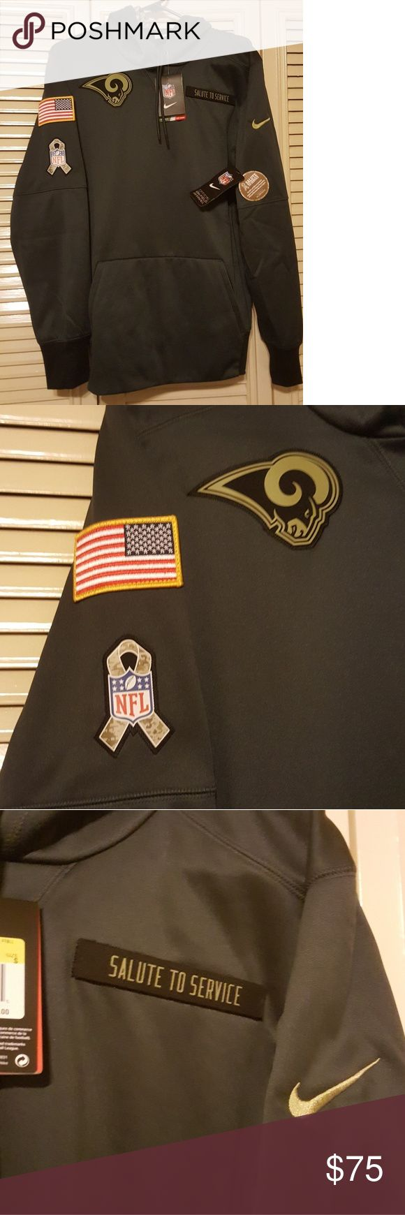 "Nike Rams Military Hoodie NFL Pullover Sweater NEW NIKE Los Angeles RAMS Salute to the Service On-Feild  Therma-Fit Men's Size: Small NEW WITH TAGS Retail Price: $85 GUARANTEED 100% AUTHENTIC   Features; Rams Logo,Military Ribbon & U.S. Flag patch Veclro Removable ""Salute to Service"" Patch Front Pockets Nike Sweaters"