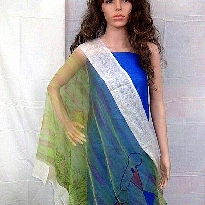 Warli theme on light green shaded dupatta