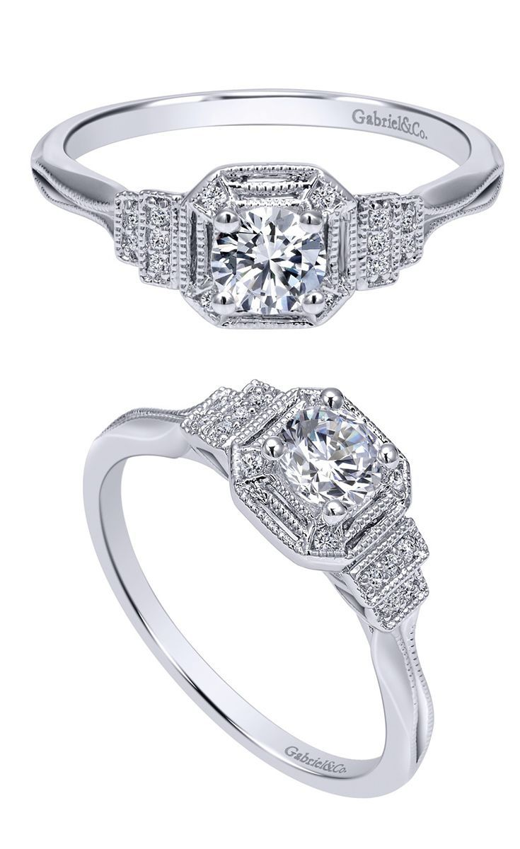 Gabriel & Co. - 14k White Gold Victorian Halo Engagement Ring
