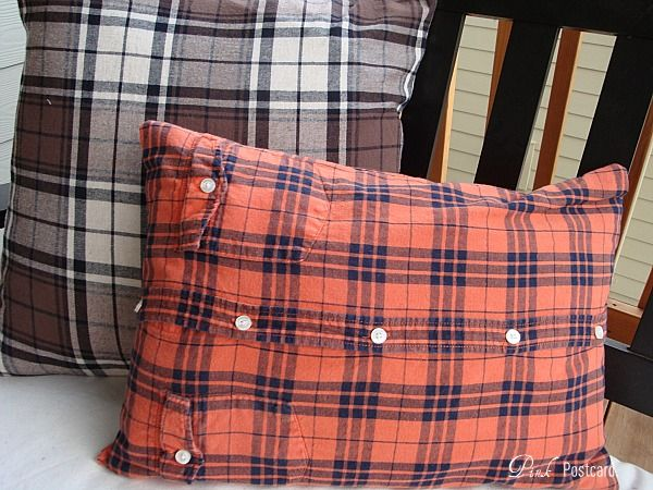 *Pink Postcard*: fall pillows from men's flannel shirts- tutorial