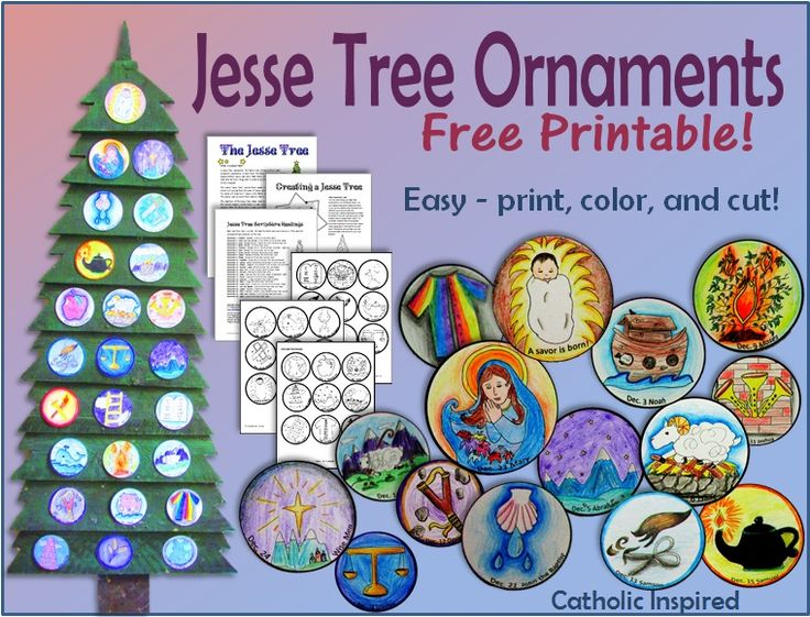 Printable Jesse Tree Ornaments! FREE and EASY! - #catholiccrafts ...