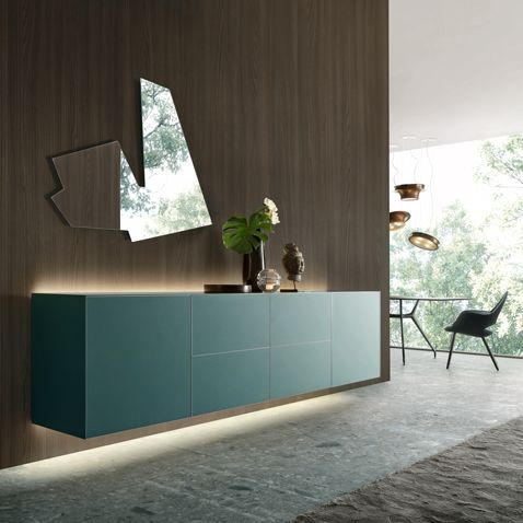 self wall composition in verde inglese mat lacquered glass.