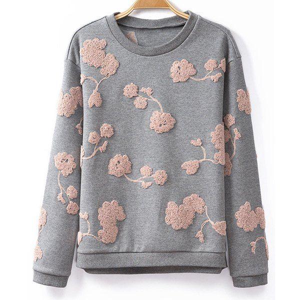 Embroidry Cotton Stylish Scoop Collar Long Sleeve Women's Sweatshirt, GRAY, XS in Sweatshirts & Hoodies   DressLily.com
