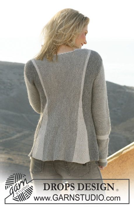 "DROPS 106-1 - DROPS pleated jacket, knitted from side to side in garter st in ""Alpaca"" and ""Cotton Viscose"". Size S – XXXL - Free pattern by DROPS Design"