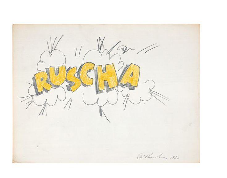 Corn-Popped Ruscha Ed Ruscha Pencil and crayon on paper 1963 Art - art teacher cover letter