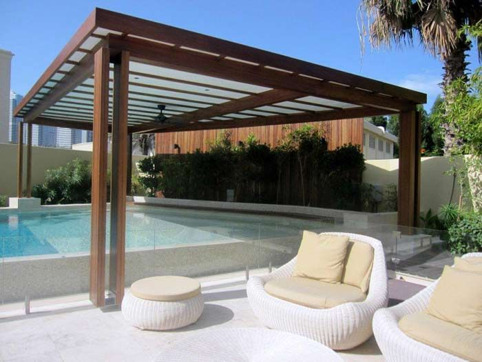 Pergola over pool contemporary landscaping pinterest for Pool pavilion designs