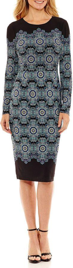 Liz Claiborne Long Sleeve Medallion Sheath Dress