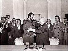 Nikita Khrushchev - Cuban leader Fidel Castro embracing Khrushchev, 1961-Wikipedia, the free encyclopedia