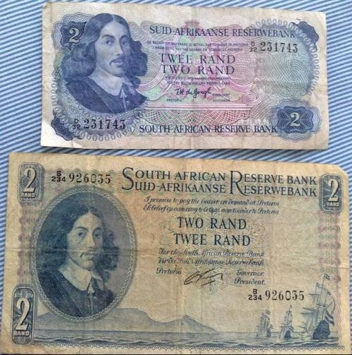Old bank notes with Jan Van Riebeeck on them (The Dutchman that found Cape Town)