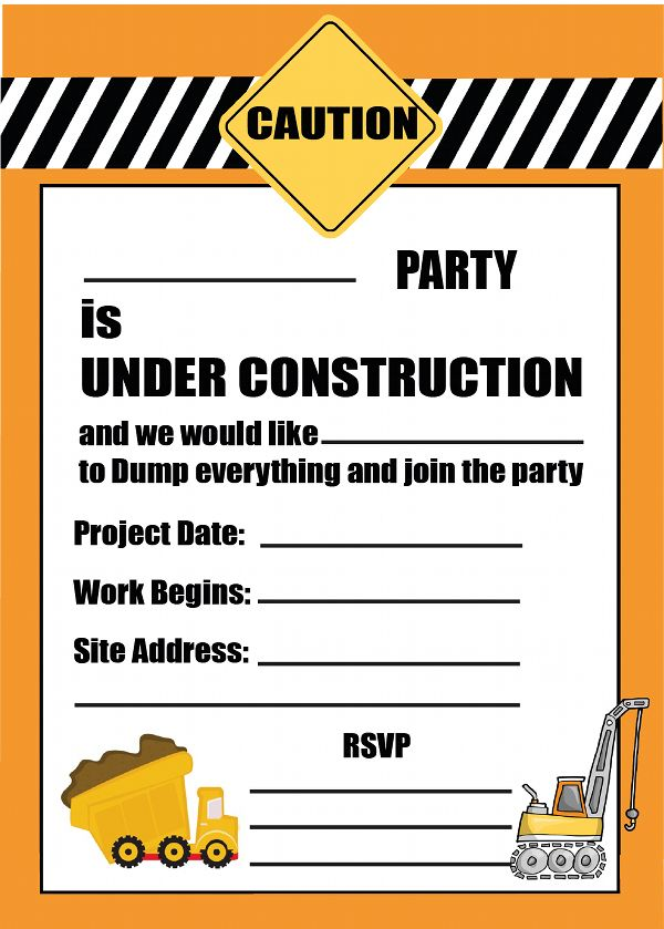 Free printable Construction Party Invitation